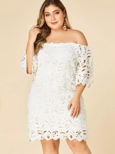 Plus Size Party Wedding Summer Fashion Dress Women Solid Hollow Out Lace Off Shoulder Elegant Lady vestidos H45