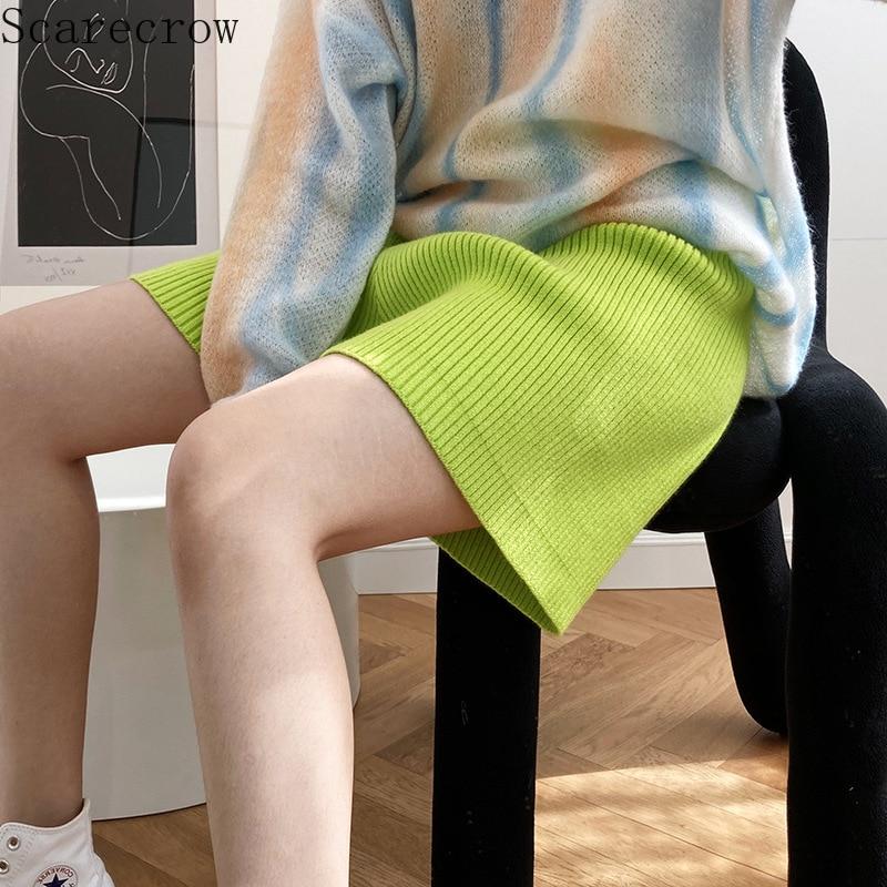 Autumn Knitted Wide Leg Shorts Women's High Waist Loose Fashion Casual Wool Sports Shorts Streetwear Women Stacked Pants Capris