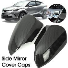 2Pcs Car Rear View Wing Mirror Cover Carbon Fiber Style Trim Look Side Wing Mirror Cover Caps For Toyota C-HR CHR цена и фото