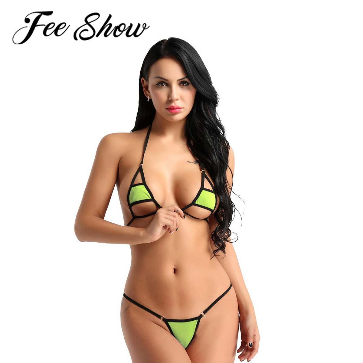 Women Faux Leather Bikini Halter Crop Top Lace Up Lingerie Set G-String Costume
