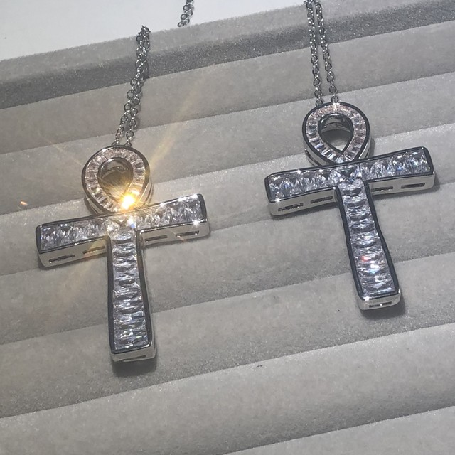 Luxury 925 Silver Princess-cut Topaz Exquisite Bible Jesus Cross Pendant Necklace Women men Crucifix Simulated Diamond Jewelry