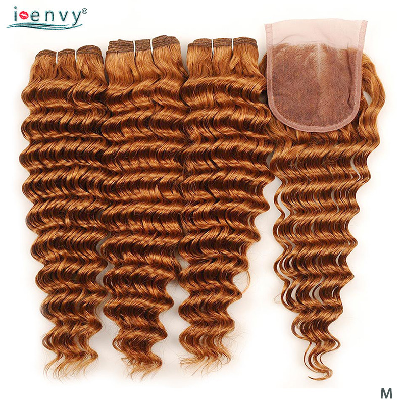 Ginger Brazilian Gold Blonde Deep Wave Bundles With Closure Human Hair Colored Bundles With Closure Honey Blonde Non-remy Weaves