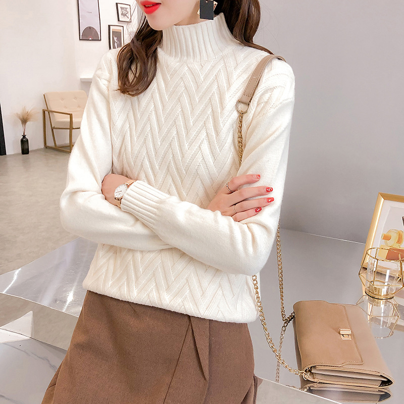 Pullovers Sweater Jumper Loose Turn-Down-Collar Knitted Oversize-Basic Warm Female Chic