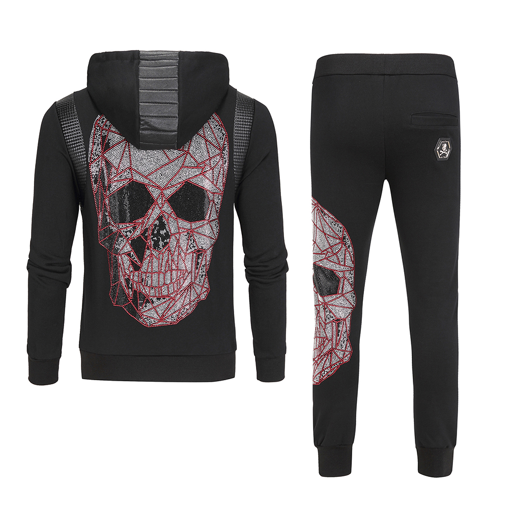 DUYOU Brand Men's Metal Skull SweatPants PU Stitching Sweatshirt Zip Full Tracksuit Mesh Skull Hoodies Fleece Joggers Sets