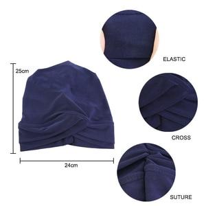 Image 5 - Women Muslim Hijab Scarf Inner Caps Ladies Islamic Cross Headband Turban Headwrap Headscarf Stretch Hair Loss Baggy Hat Bonnet