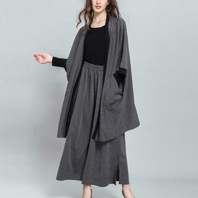 LANMREM New Clear Stocks Fashion Three Quarter Batwing Sleeve V- Collar Striped Coat Elastic Waist Pants Casual Suit Women AC527