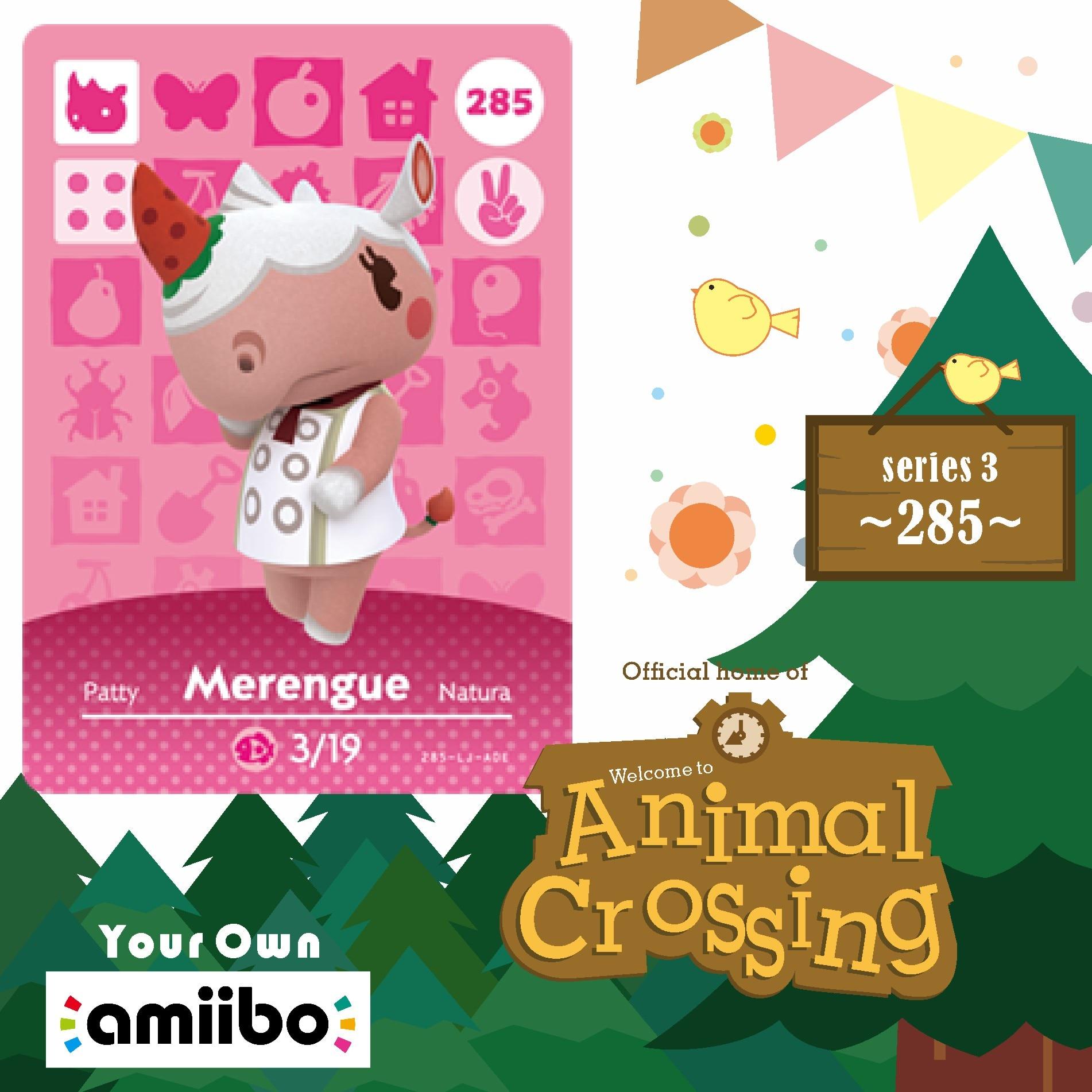 Amiibo 285 Animal Crossing Merengue Amiibo Card Merengue 285 New horizons villager cards Merengue  for NS Game Series Season 3 1