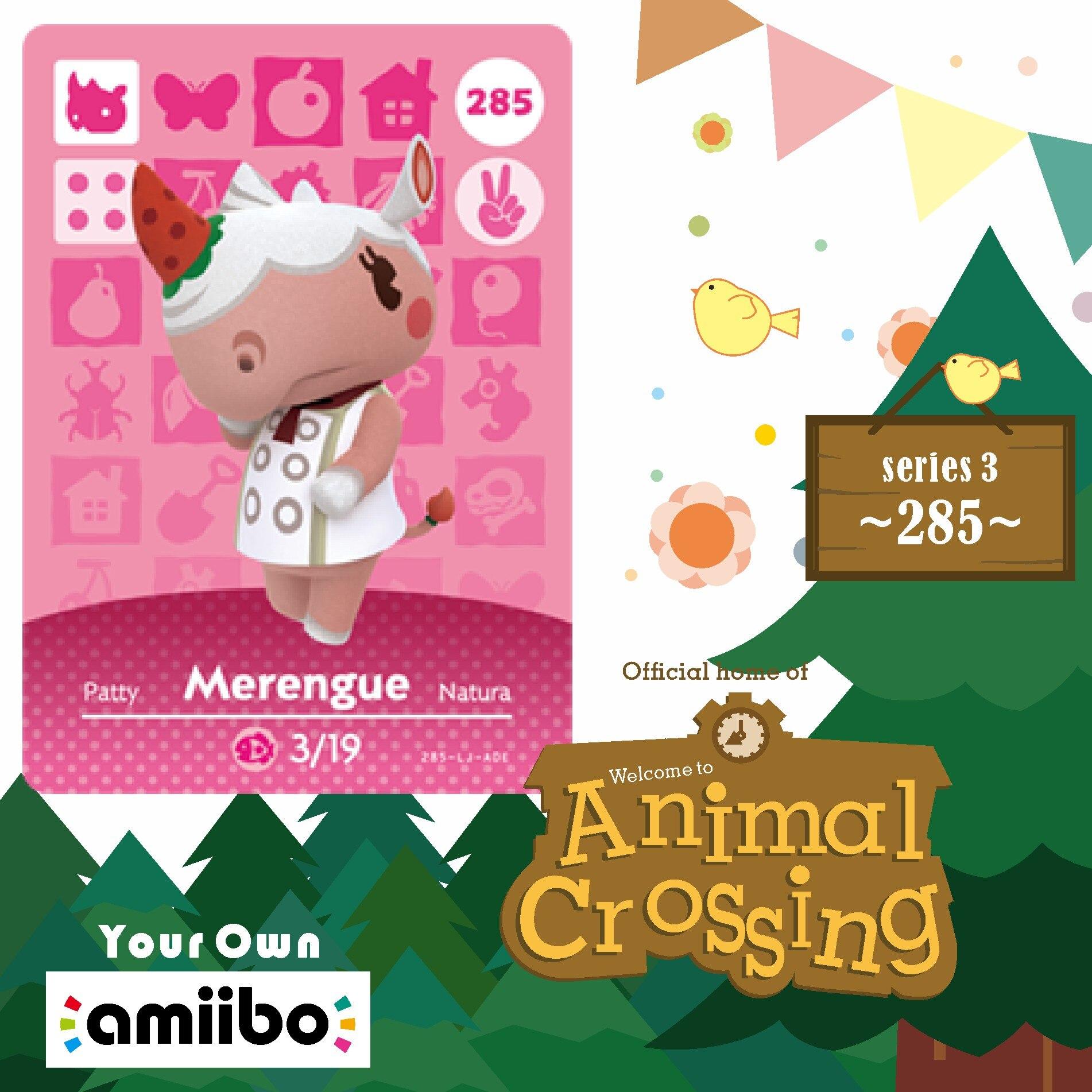 Amiibo 285 Animal Crossing Merengue Amiibo Card Merengue 285 New Horizons Villager Cards Merengue  For NS Game Series Season 3