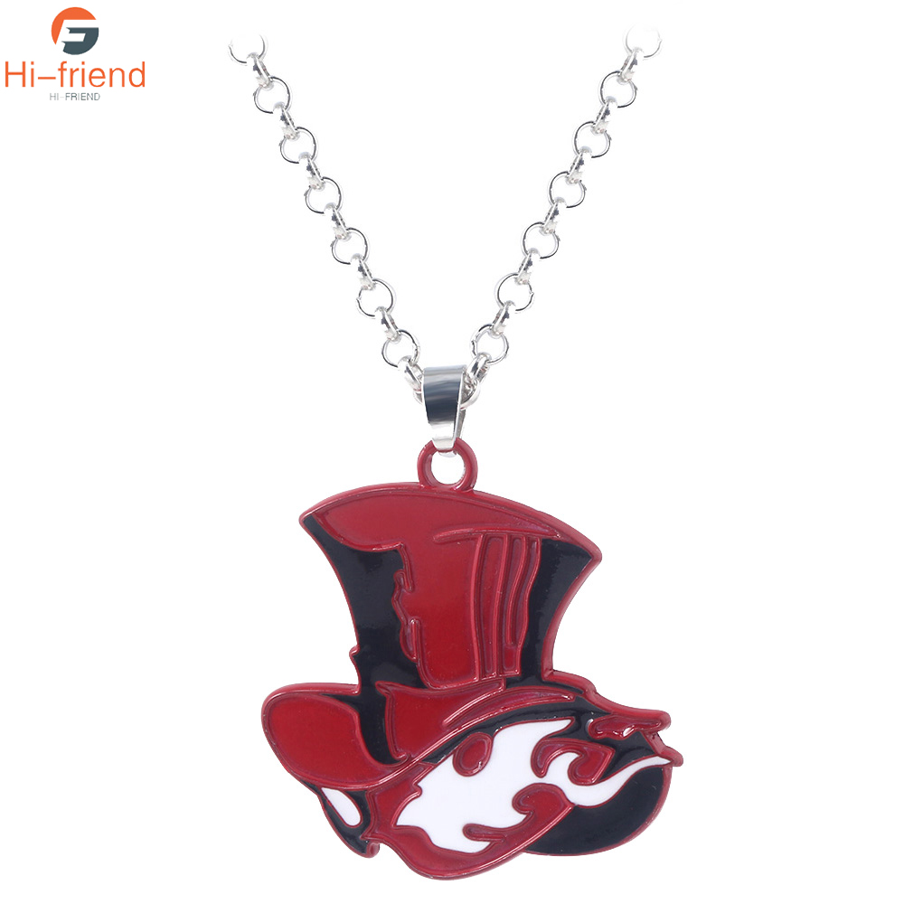 Game Persona 5 P5 Necklaces Take Your Heart Red Hat Logo Pendant Choker For Women Men Friend Car Keyring Jewelry Gift image