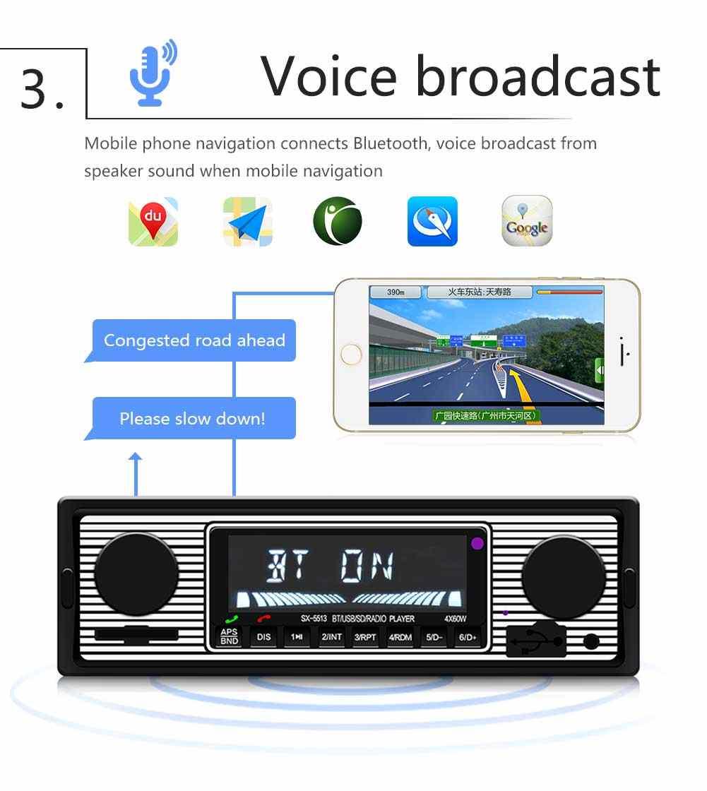 1 Din Auto Radio Bluetooth Vintage Auto Radio MP3 Speler Stereo Usb Aux Klassieke Audio