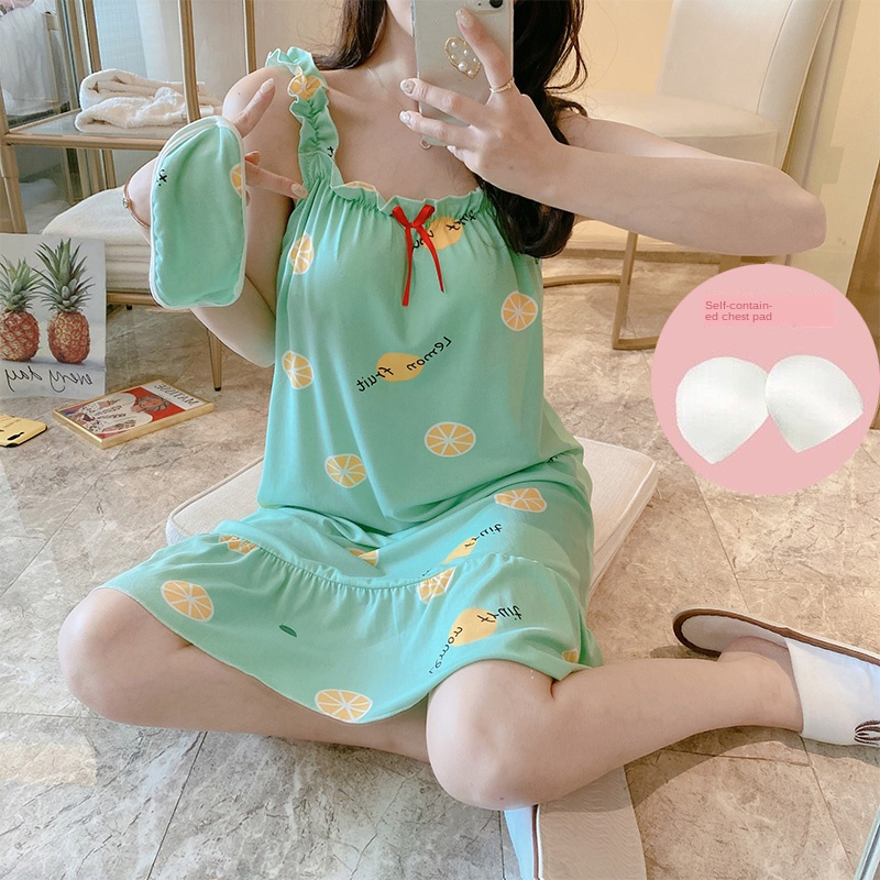 20 Style Young Girl Nightgown Wear Summer Short Sleeve Women Sleepwear Shirt With Chest Pad Sexy Nightshirt Party