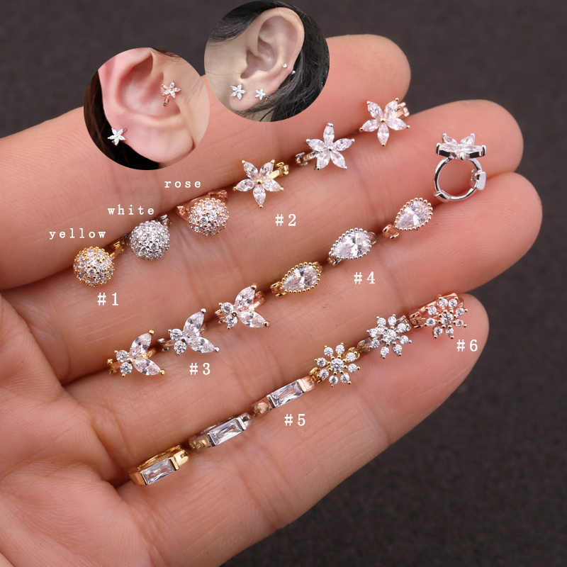Sellsets 1 Piece New Classic Tiny Hoop Rose Gold Color Cz Daisy Flower Daith Rook Helix Snug Piercing Jewelry