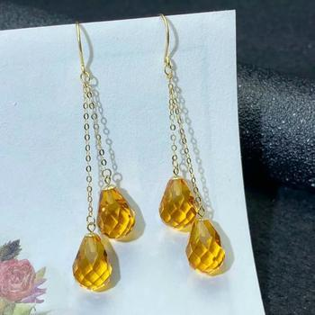 shilovem 18k yellow gold citrine drop earrings  fine Jewelry women party new classic plant  gift 8*11mm myme0811222j 5