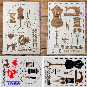 2Pcs/Lot A4 Sewing Machine Scissors DIY Craft Layering Stencils Painting Scrapbooking Stamping Embossing Album Paper Template
