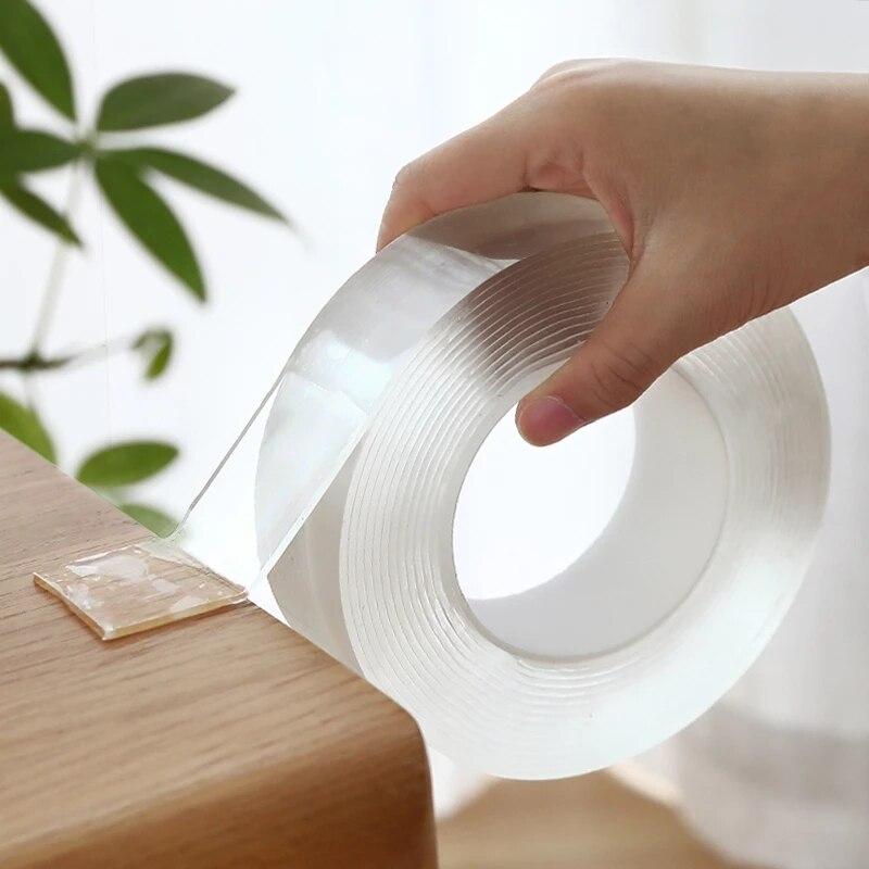 Прозрачная двусторонняя нано-лента, многоразовая водонепроницаемая клейкая прочная наклейка, 1 м/2 м/3 м/5 м 10 мм, не оставляет следов