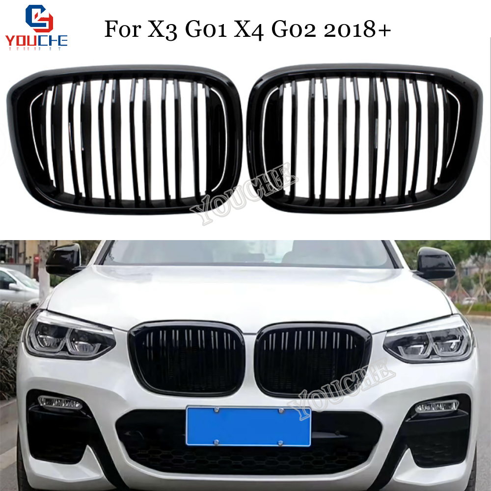 Front Bumper Kidney Grille Mesh Glossy Black Replacement <font><b>Grill</b></font> for <font><b>BMW</b></font> <font><b>X3</b></font> <font><b>G01</b></font> & X4 G02 2018 2019 5-door SUV image