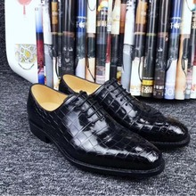 fanzunxing New winter  Business shoes Large - size No splicing Men'shoes Handmade crocodile leather