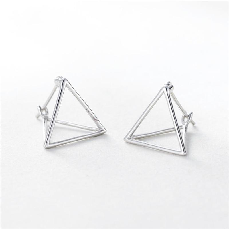 Korea Minimalist Geometric Three-Dimensional Triangular Allergy 925 Sterling Silver Temperament Female Stud Earrings SEA352
