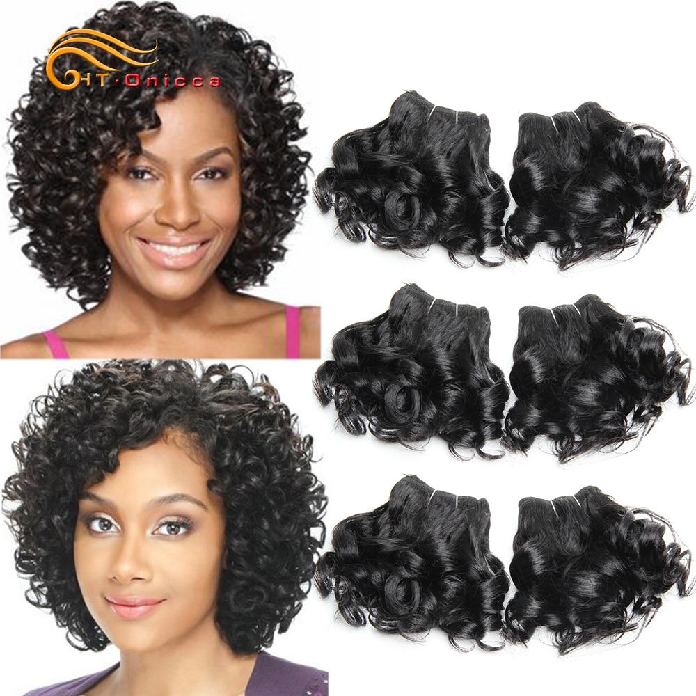 6 шт./лот, кудрявые человеческие волосы, пучки бразильских волос, плетение, 8 дюймов, 1B #2 #4 30 99J, пучки волос, короткие волосы для наращивания