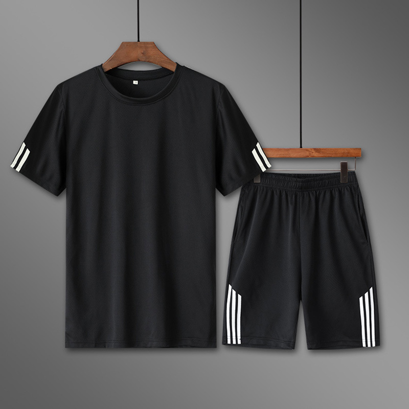 Leisure Sports Suit Men's 2019 Summer New Style Trend Loose-Fit Short-sleeved Round Collar T-shirt Short Shorts Two-Piece Set