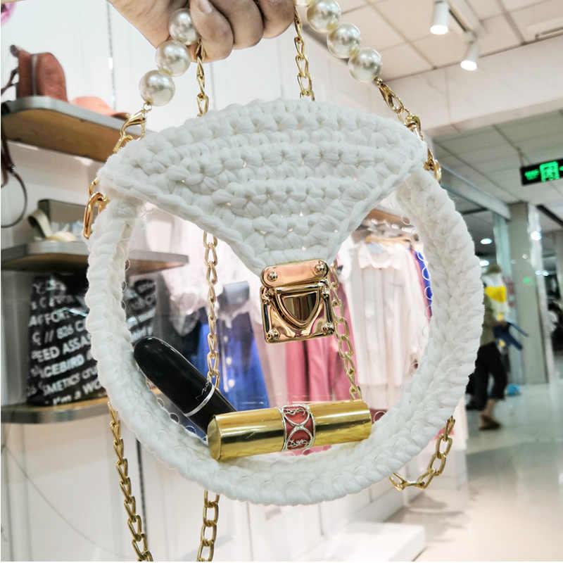 Sac A La Mode Tisse A La Main Sac Acrylique Transparent Fait Maison Crochet Laine Bricolage Materiel Sac Aliexpress