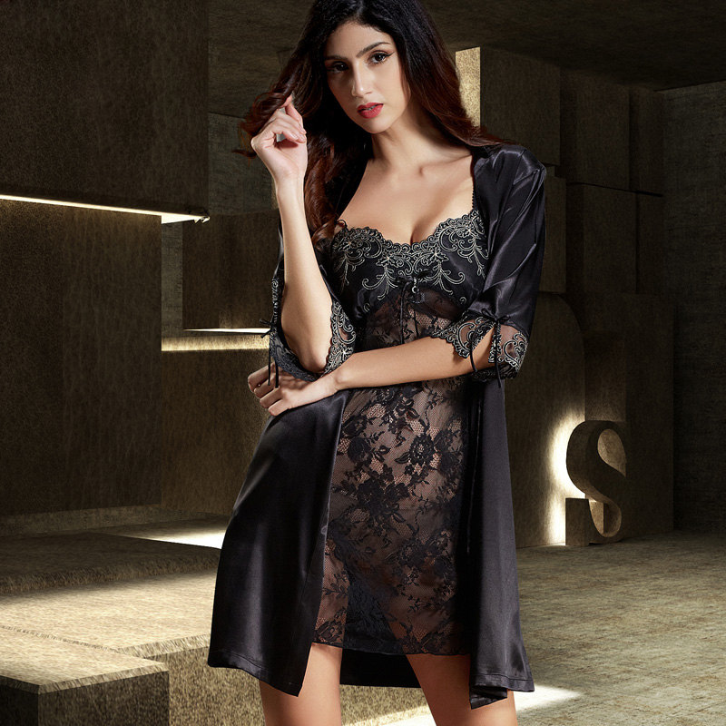 New Sexy Robe Sets Female Softness Satin Silk Sleepwear Women Pijama Black Lace Two-Piece Nightdress Nightgown Bathrobes Set