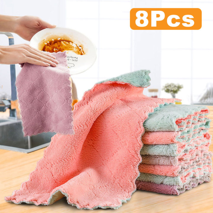 1/3/8/10 Pcs Kitchen Dish Cloth Double-layer Absorbent Microfiber Non-stick Oil Dish Household Cleaning Wiping Towel Kichen Tool Can Be Repeatedly Remolded.