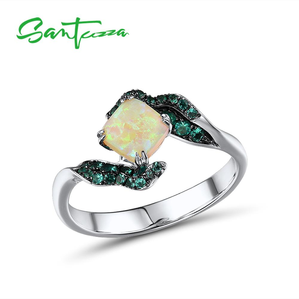 SANTUZZA Silver Rings For Women Pure 925 Sterling Silver Glamorous Created Emerald Opal Ring Elegant Trendy Fine Jewelry