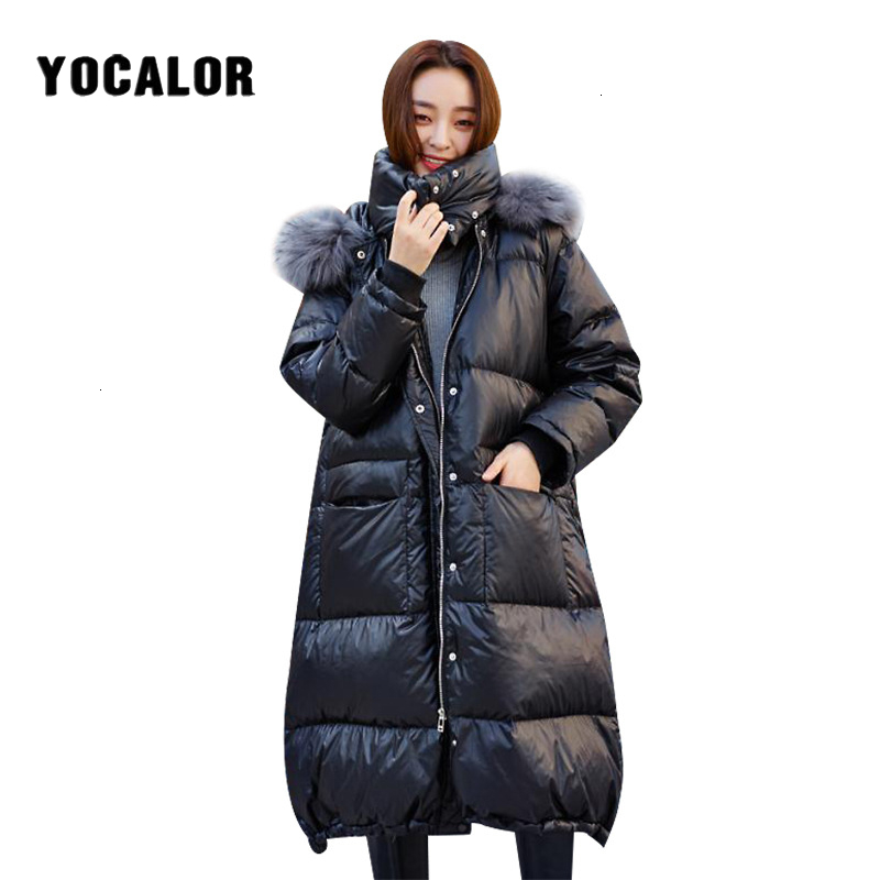 Fashion Raccoon Fur Collar Womens Down Jackets Winter Coat Parka For Girl Women Puffer Female Warm Jacket Plus Size Coats Duck