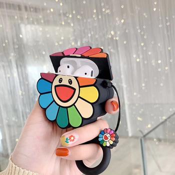 3D Takashi Murakami Kaikai Kiki Rainbow Flower przypadki słuchawek silikonowe słuchawki pokrywa dla airpods pro dla Apple Airpods 1 2 3 tanie i dobre opinie Słuchawki Przypadki for Apple Airpods for Apple Airpods 2