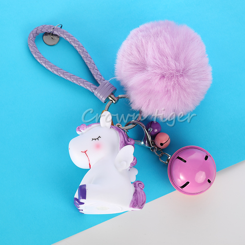 Cute Plush Pompom Unicorn Keychain for Women fur fluffy Ball <font><b>Pom</b></font> <font><b>Pom</b></font> Faux Rabbit Fur Key Chain Trinket Car Bag Bell <font><b>KeyRing</b></font> Gift image