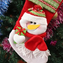 Cute Flannelette Christmas stocking gift bag Snowman Bag Gift Sock Xmas Tree Pendant for  Indoor Home Decors