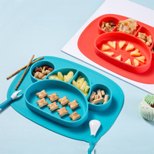 Non-Slip Baby Silicone Dining Plates Cartoon Whale Crab Toddler Child Training Plate Tray Tableware Kid Food Feeding Bowl Dishes