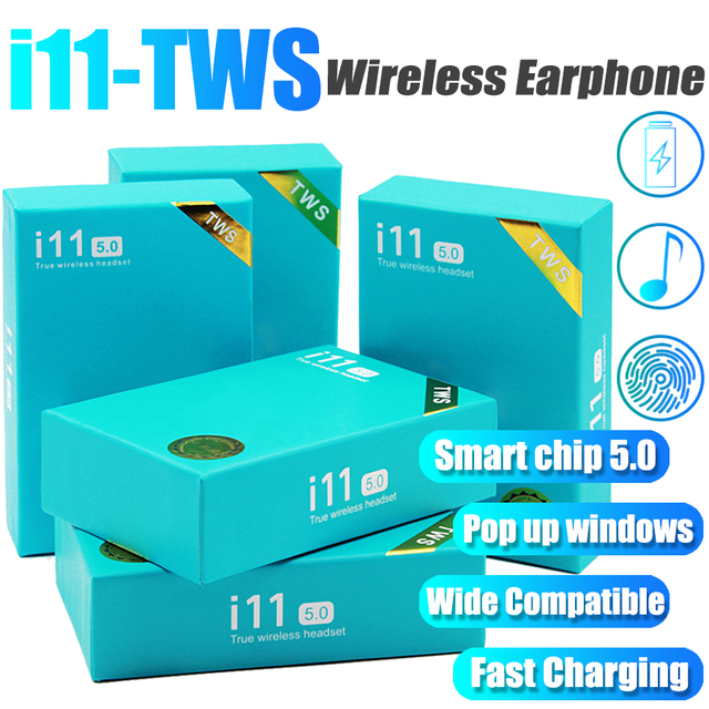 Acespower I11 TWS Handsfree Earphones True Wireless Stereo Earbuds 5.0 Touch Control for Any Bluetooth Device with Gift Box
