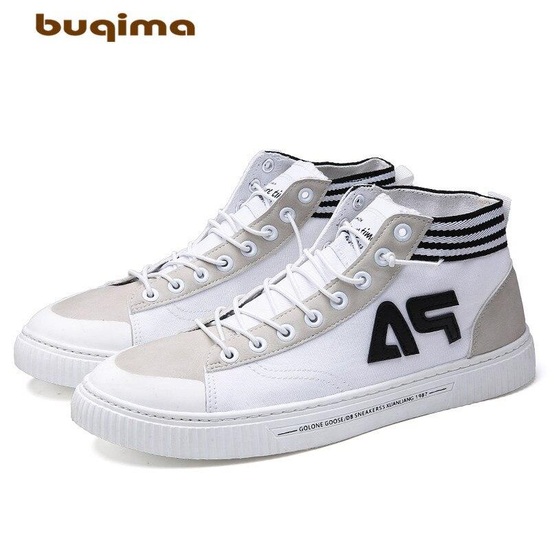 Buqima mens high shoes canvas casual Korean trend