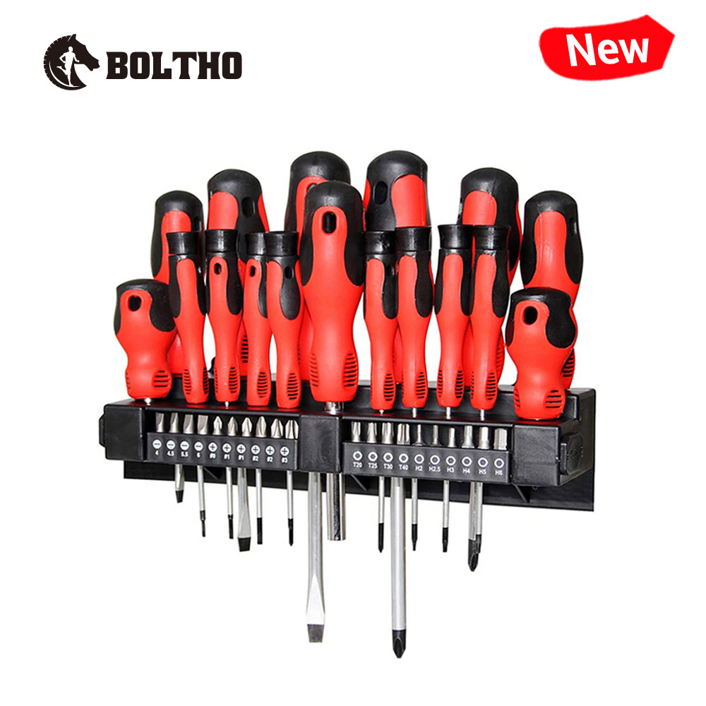 BOLTHO 37-Piece Magnetic Screwdriver Sets with Tips and Bits, Professional Repair Tool,Plastic Racking, Men Gift