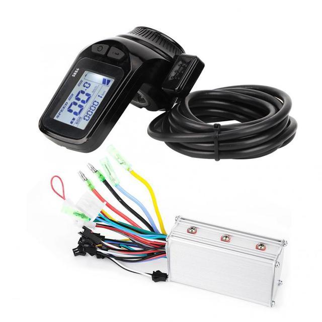 24 V/36 V/48 V 350W فرش تحكم شاشة الكريستال السائل لوحة مع الإبهام خنق مجموعة ل الكهربائية دراجة E الدراجة سكوتر كهربائي