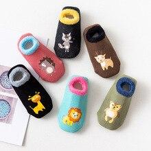 Хлопок ребенок мальчики девочки носки резина нескользящие пол носки мультфильм младенец дети животное носки зима осень утолщение тепло обувь
