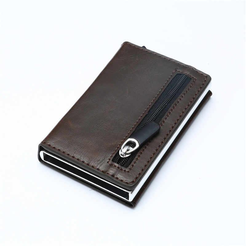 YAMBUTO 2020 Rfid akıllı cüzdan kredi kart tutucu Metal ince ince erkek cüzdan geçiş gizli Pop Up Minimalist cüzdan küçük çanta