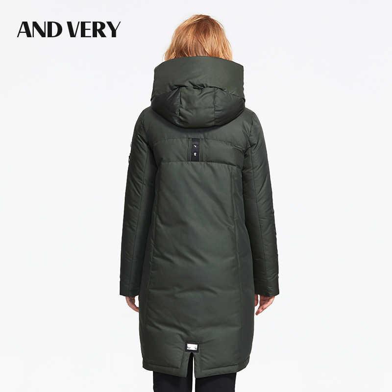 ANDVERY 2019 zima nowy nabytek kobiety dół kurtki z kapturem góry gruby kolor bawełny modne długie kobiety płaszcz na zimę 9832