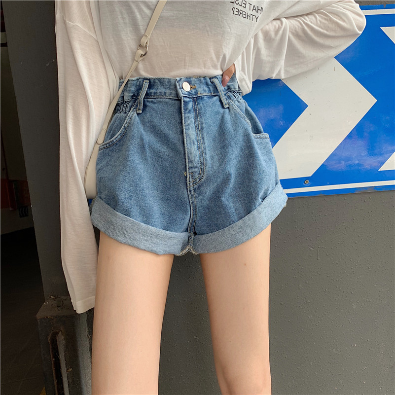 NNS Shorts Jeans Women's Crimping Slimming Trousers Blue Black And White With Pattern Versatile New Products Cool Sell