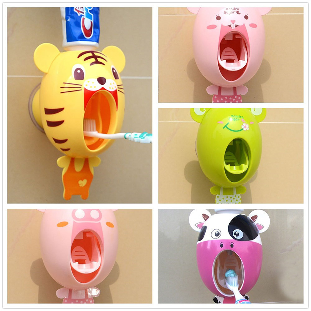 Practical Strong Suction Sucker Funny Cartoon Style Bathroom Household Toothbrush Holder Children Automatic Toothpaste #25