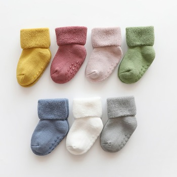 Baby Socks Toddlers Solid Candy Colors Short Cotton Soft Anti Slip Lace Infant Socks Warm Baby Winter Socks фото