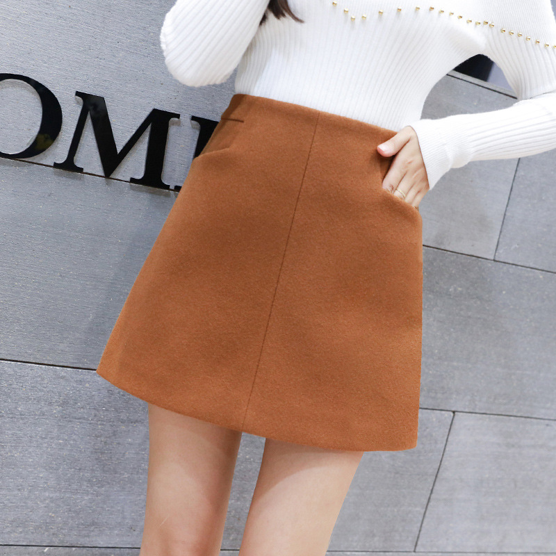 S-2xl Winter High Waist Thickened Warm Mini Skirt Women 2019 A-line Wool Skirt Women For Autumn Plus Size Fashions Mini Skirt