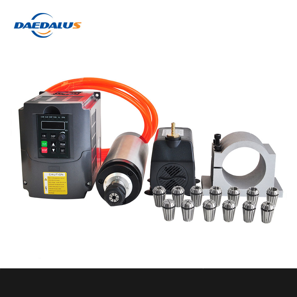 CNC Spindle 2.2KW 220V Water Cooled Spindle Router+ 2.2kw Converter Inverter 80mm Clamp 75w Water Pump 5M pipe 13pcs ER20 Collet