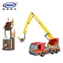 XINGBAO 14002 City Fire Fighting Series The Rescue Of High Set Building Blocks Bricks Aerial Ladder Truck Model Educational Toys lepin 02025 360pcs city series the high speed racer transporter set children educational building blocks funny toys model 60151