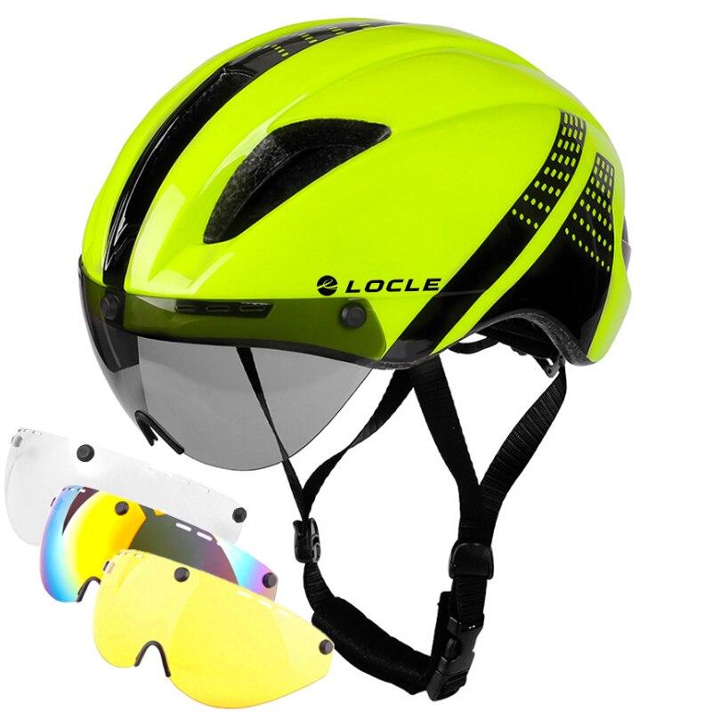 Велосипедный шлем LOCLE, 1-4 линзы, магнитные очки, дорожный горный MTB, в форме, велосипедный шлем для верховой езды, пробный велосипедный шлем