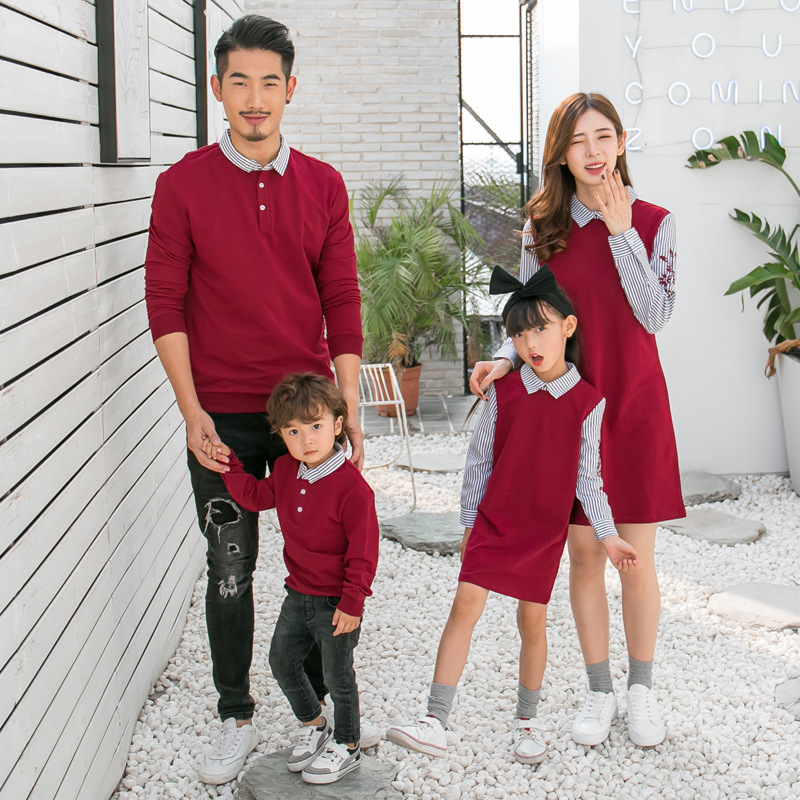 2021 Spring Autumn Family Matching Outfits Mom And Daughter Fake Two-piece Dress Dad Son Sweaters Children Long Shirts