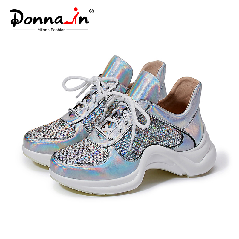 Donna-in Crystal Genuine Leather High  Platform Sneakers 2020 Women Wedge Heels Female Shoes Spring Reflective Fashion Sneakers