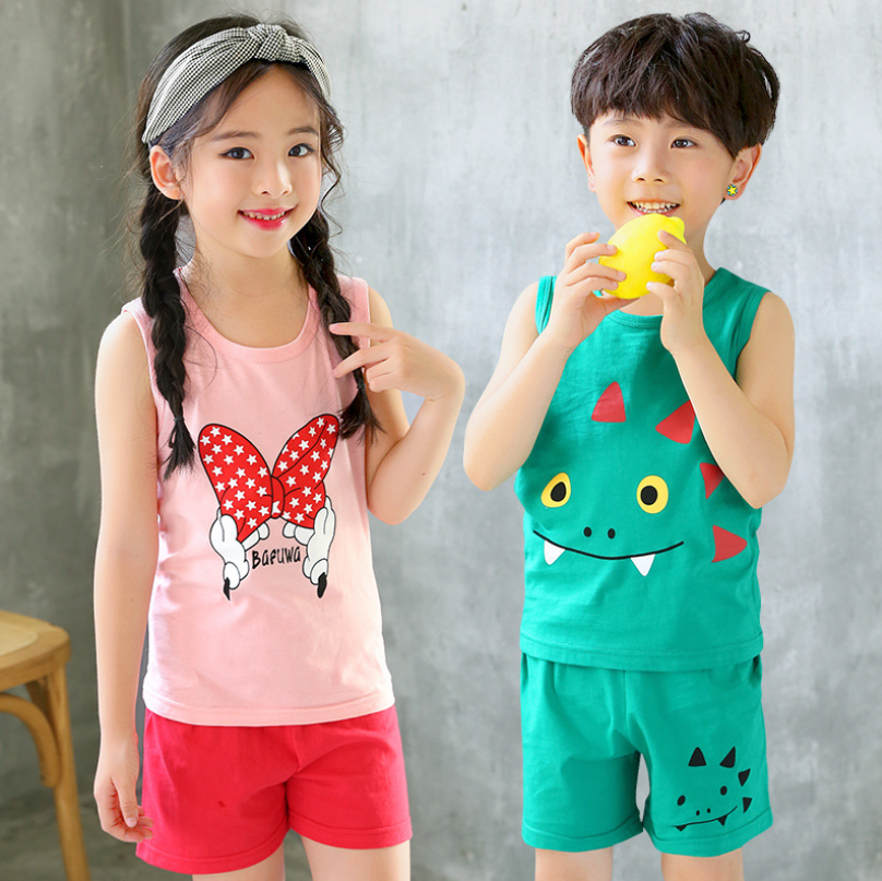 Girls Boys Summer Clothing Set Cotton Homewear Kids Clothes Tank Tops T Shirt Beach Shorts Outfits Pyjamas For 2 4 6 8 10 Years